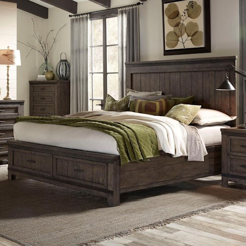 Liberty Furniture Thornwood Hills Queen Storage Bed with Two Dovetail Drawers