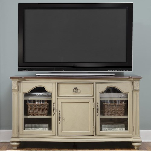 Liberty Furniture Tiffany TV Console with 1 Drawer and 5 Shelves and 3 Doors
