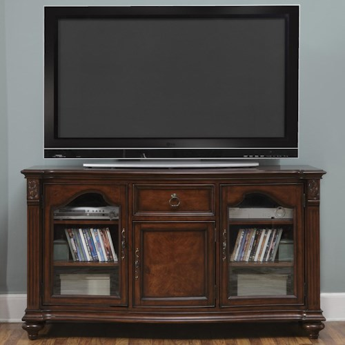 Vendor 5349 Tiffany II TV Console with 1 Drawer and 5 Shelves and 3 Doors