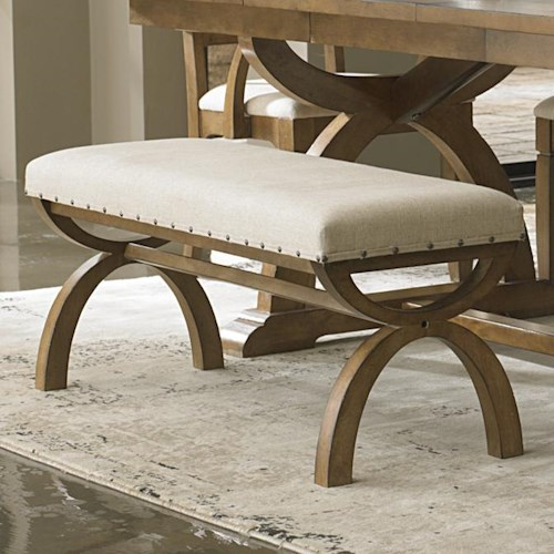 Liberty Furniture Town & Country Upholstered Bench with Unique Curved X Base