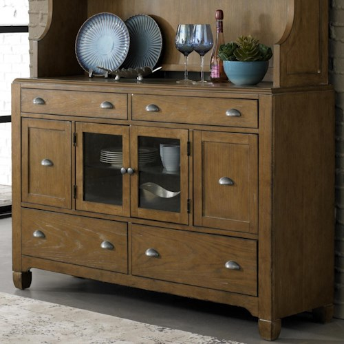 Liberty Furniture Town & Country 6-Drawer Buffet with Antique Pewter Cup Pull Hardware