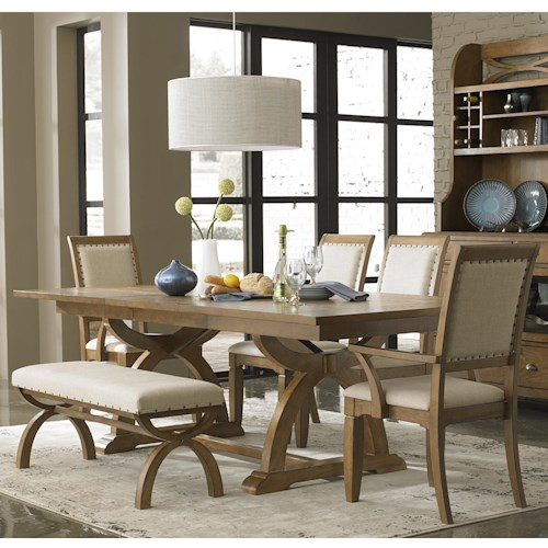 Liberty Furniture Town & Country 6 Piece Trestle Table Set with 4 Upholstered Chairs & Dining Bench