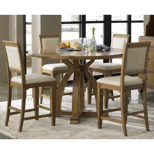 Liberty Furniture Town & Country 5-Piece Gathering Table Set with 4 Upholstered Counter Height Chairs