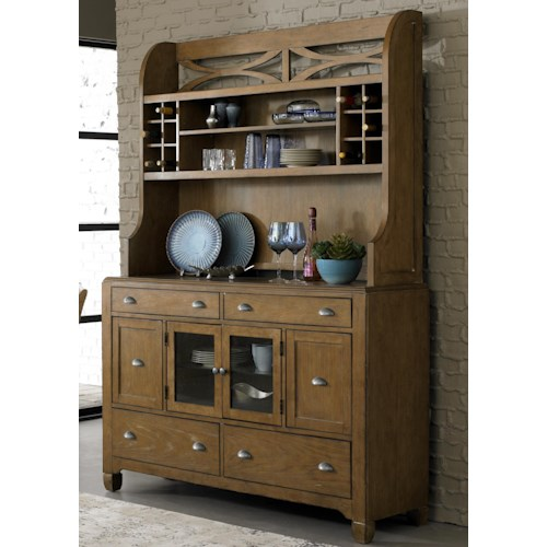 Liberty Furniture Town & Country Dining Hutch & 6-Drawer Buffet with Unique Curved X Accents
