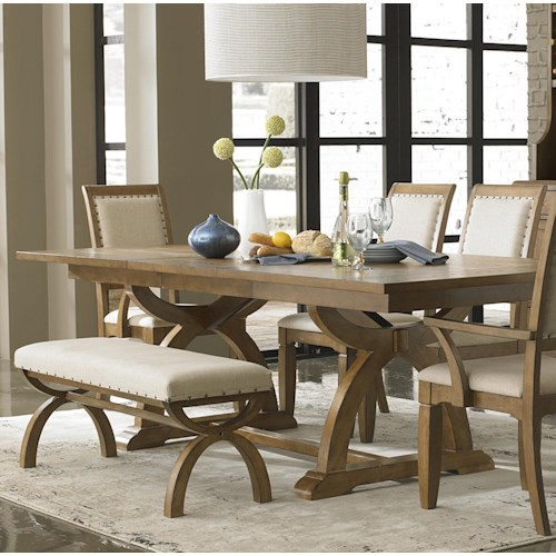 Liberty Furniture Town & Country Trestle Dining Table with One 24-Inch Table Leaf
