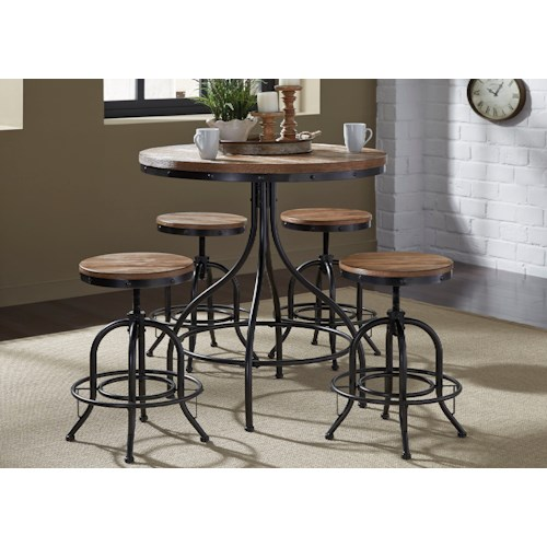 Liberty Furniture Vintage Dining Series 5-Piece Pub Table and Bar Stool Set