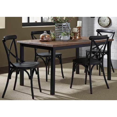 Liberty Furniture Vintage Dining Series 5-Piece Rectangular Leg Table and X-Back Chair Set