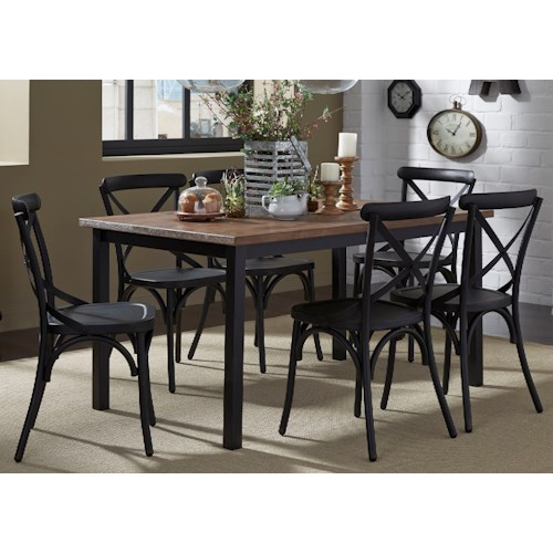 Vendor 5349 Vintage Dining Series 7-Piece Rectangular Leg Table and X-Back Chair Set