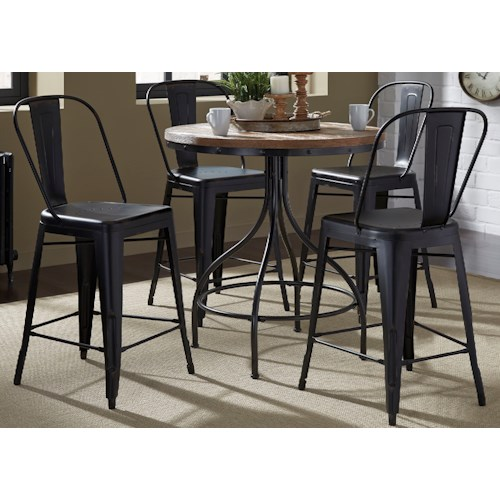 Liberty Furniture Vintage Dining Series 5-Piece Gathering Table and Bow Back Counter Chair Set