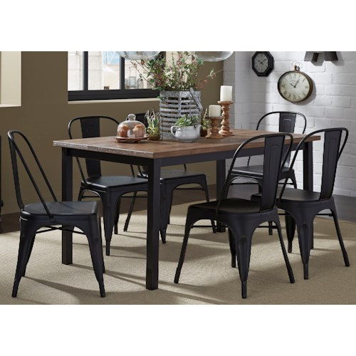 Liberty Furniture Vintage Dining Series 7-Piece Rectangular Leg Table and Bow Back Chair Set