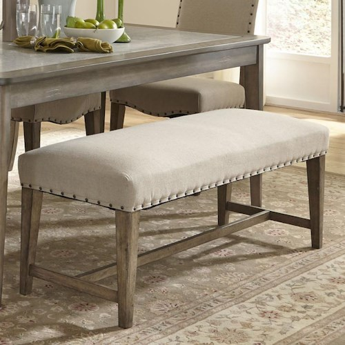 Liberty Furniture Weatherford  Rustic Casual Upholstered Bench with Nail Head Trim