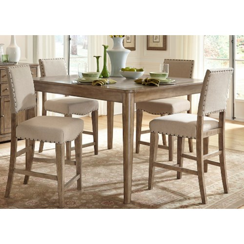 Vendor 5349 Weatherford  Rustic Casual 5 Piece Gathering Table Set
