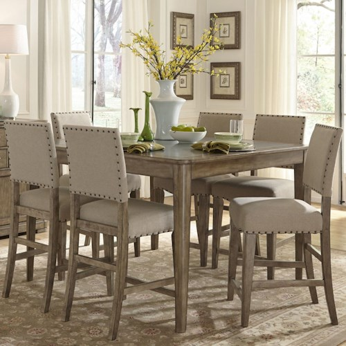 Vendor 5349 Weatherford  Rustic Casual 7 Piece Gathering Height Table and Chair Set
