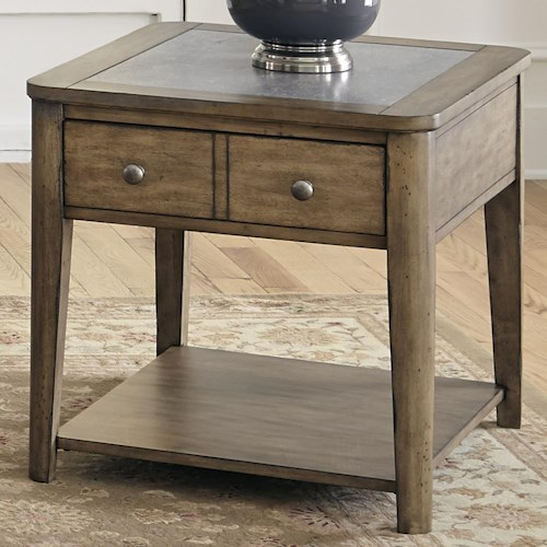 Vendor 5349 Weatherford  End Table with Drawer and Concrete Top Insert