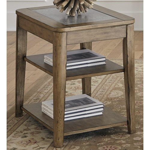 Liberty Furniture Weatherford  Chair Side Table with Concrete Top Insert