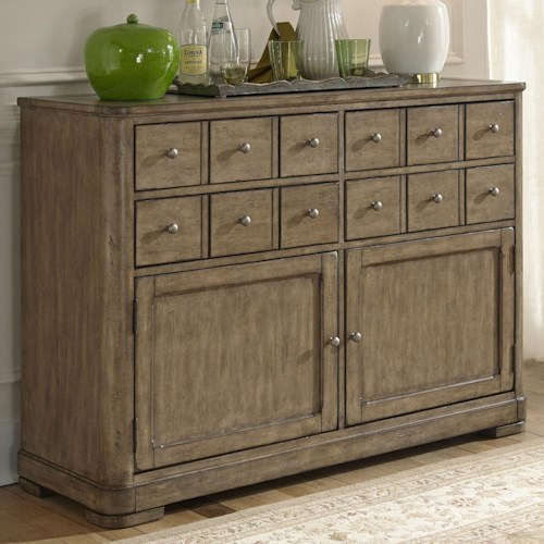 Liberty Furniture Weatherford  Rustic Casual Server with Apothecary Top Drawers