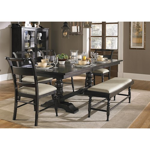 Liberty Furniture Whitney 6 Piece Trestle Table Set with Bench