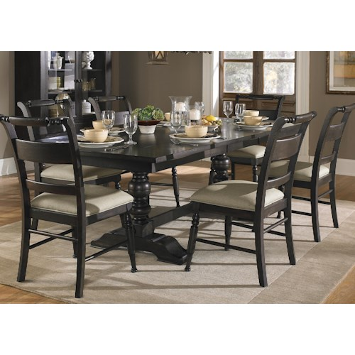 Liberty Furniture Whitney 7 Piece Trestle Dining Room Table Set
