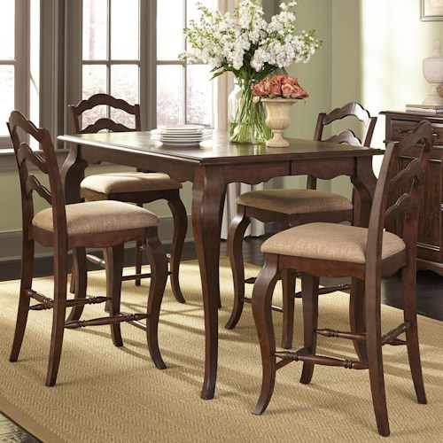 Vendor 5349 Woodland Creek  Transitional Gathering Height Table and Chair Set