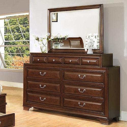 Lifestyle 1192 Transitional 10-Drawer Dresser & Landscape Mirror Set