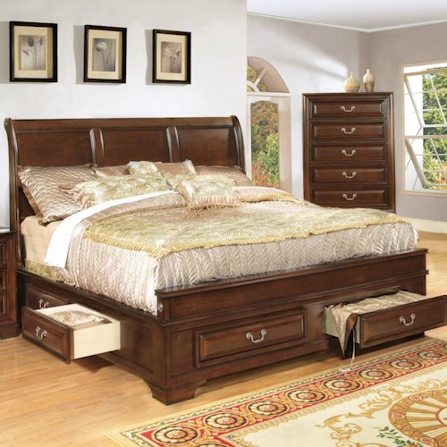 Lifestyle 1192 Queen Transitional Cherry Panel Bed with Storage