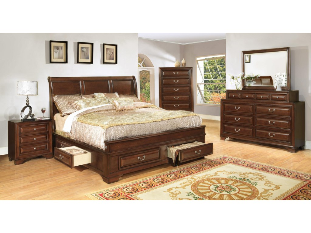 Lifestyle Bedroom Furniture Lifestyle 1192 King Transitional Cherry Panel Bed With Storage