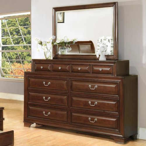 Lifestyle 1192 Transitional 10 Drawer Dresser and Landscape Mirror