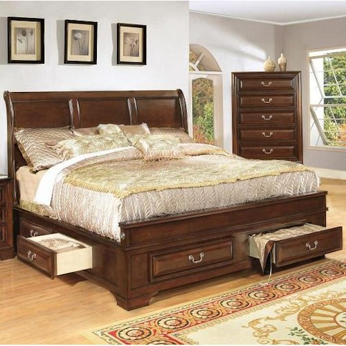 Lifestyle 1192 Queen Transitional Panel Bed with Side and Footboard Storage Drawers