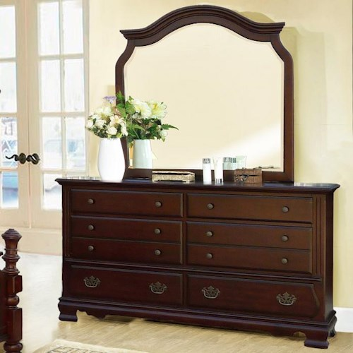Lifestyle 2132A Traditional 6-Drawer Dresser and Arched Mirror