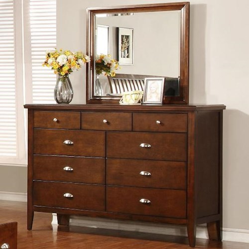 Lifestyle 4130A Dresser with 9 Drawers and Mirror