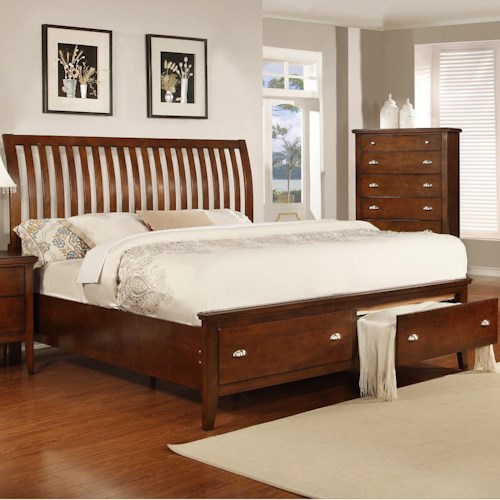 Lifestyle 4130A Twin Sleigh Bed with 2 Storage Drawers