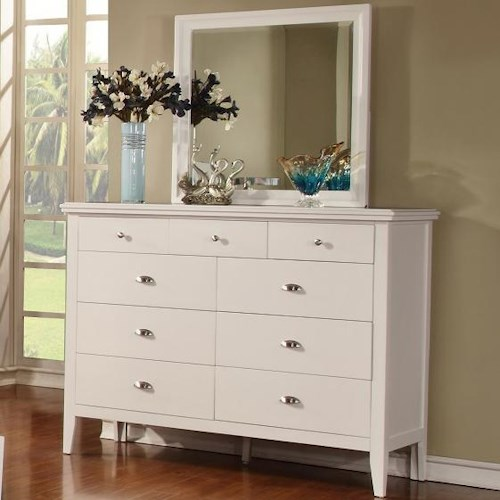 Lifestyle 4135A Dresser with 9 Drawers and Mirror