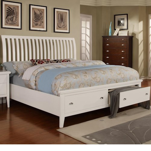 Lifestyle 4135A King Sleigh Bed with 2 Storage Drawers
