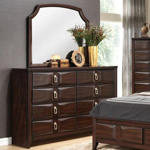 Lifestyle 4157A Transitional Eight Drawer Dresser and Arched Mirror Set
