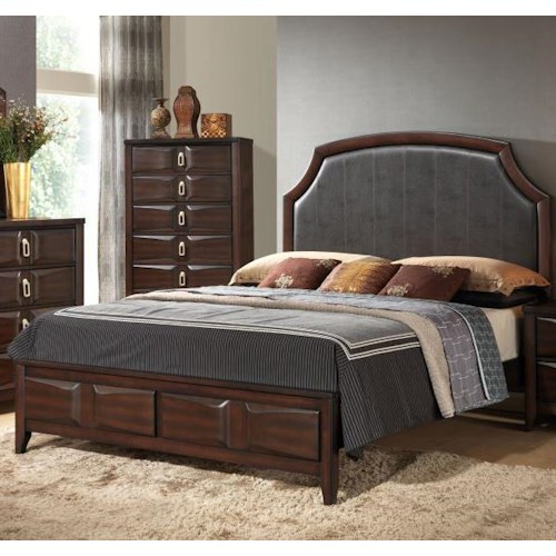 Lifestyle 4157A Queen Bed with Bonded Leather Upholstered Headboard