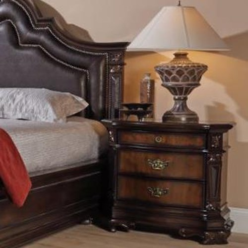 Lifestyle 4258A Ornate Traditional Nightstand with Three Drawers