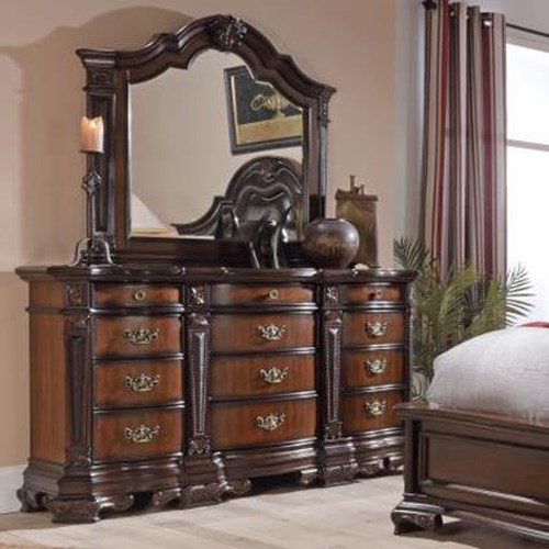 Lifestyle 4258A Ornate Traditional Twelve Drawer Dresser and Mirror Set