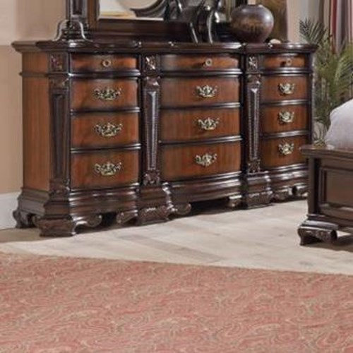 Lifestyle 4258A Ornate Traditional Dresser with Twelve Drawers