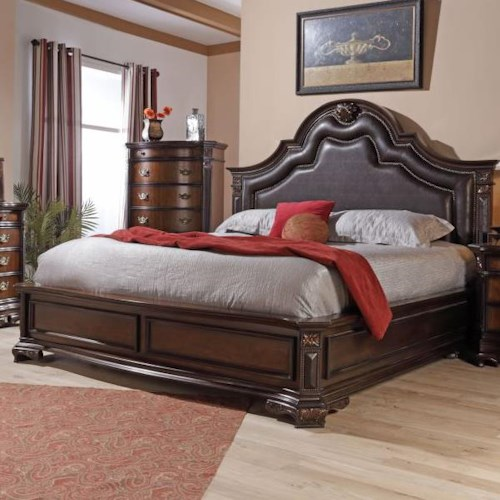Lifestyle 4258A King Faux Leather Upholstered Bed with Nailhead Trim