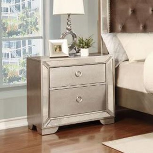 Lifestyle 5218A Glam Mirror-Paneled Nightstand with Two Drawers