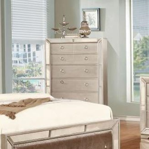 Lifestyle 5218A Glam Mirror-Paneled Chest with Five Drawers