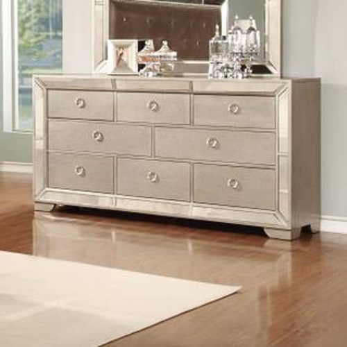 Lifestyle 5218A Glam Mirror-Paneled Dresser with Seven Drawers