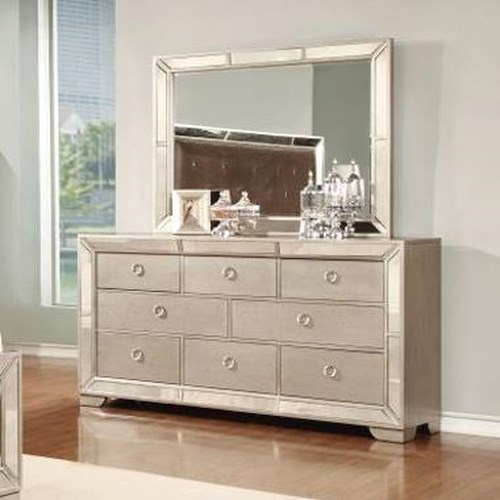 Lifestyle 5218A Glam Mirror-Paneled Dresser and Landscape Mirror Set