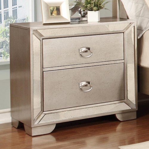 Lifestyle Glitzy Nightstand with 2 Full Extension Drawers