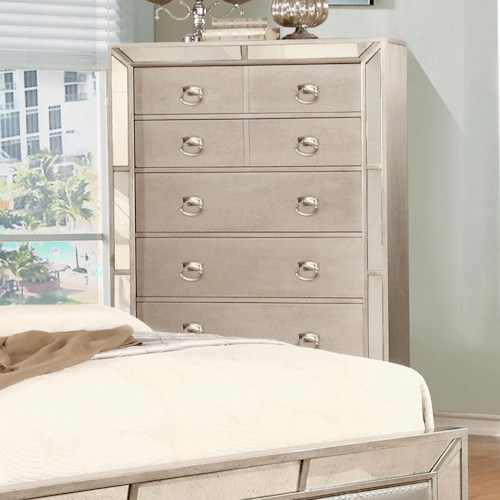 Lifestyle Glitzy Chest with 5 Full Extension Drawers