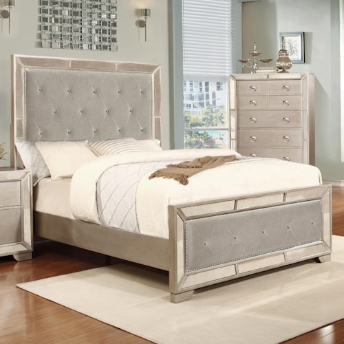 Lifestyle 5219A California King Size Panel Bed with Tufted Upholstery