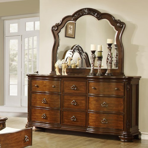 Lifestyle 5390A Dresser with 9 Full Extension Drawers and Mirror Set