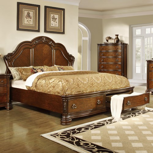 Lifestyle 5390A California King Size Panel Bed with 2 Storage Drawers