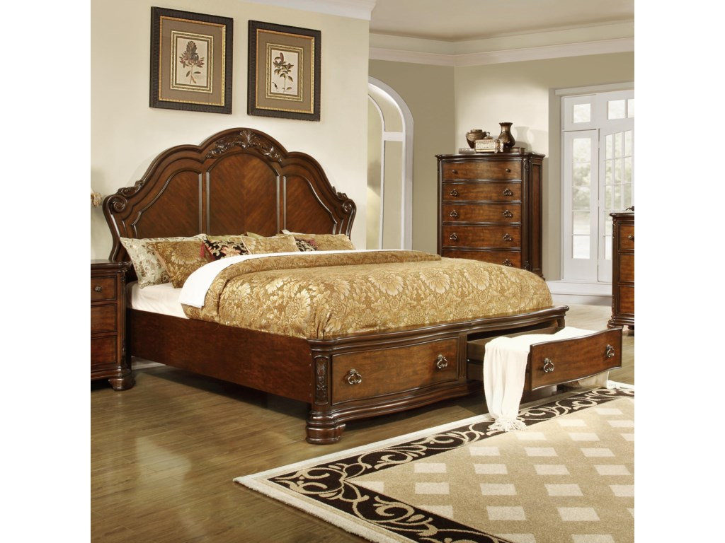 Lifestyle Bedroom Furniture Lifestyle Tobacco Queen Size Panel Bed With 2 Storage Drawers