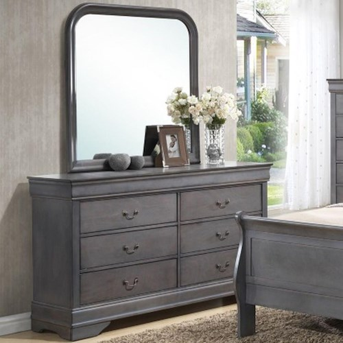 Lifestyle 4934A 6 Drawer Dresser & Rounded Square Mirror Combo